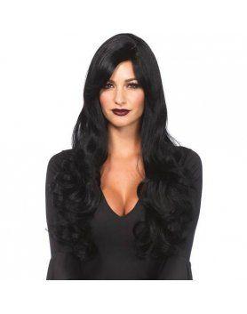 leg avenue peluca larga ondulada negra