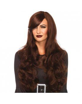 leg avenue peluca larga ondulada negro