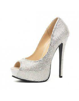 leg avenue glamour peep toe pump plata satinado con strass