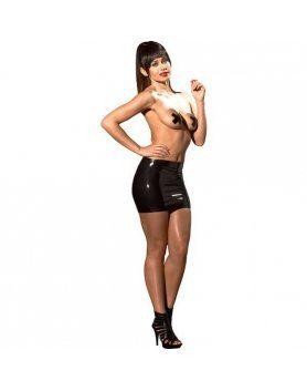 mini falda efecto mojado negro