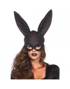 leg avenue mascara grande orejitas de conejo negra con purpurina