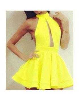vestido cuello halter amarillo