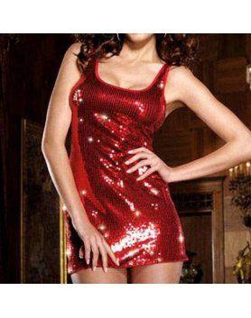 vestido tirantes lentejuelas rojo
