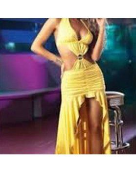 vestido asimétrico volantes amarillo