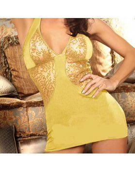 vestido brocado brillantes amarillo