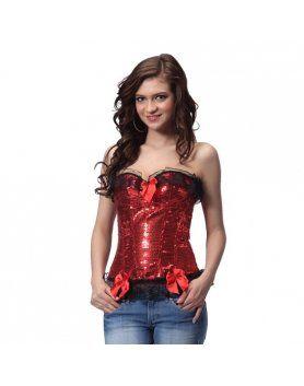 INTIMAX CORSET LENCERIA DE LENTEJUELAS Y VOLANTE ROJO Espectacular corset lencería color rojo satinado fabricado por URBAN. Es