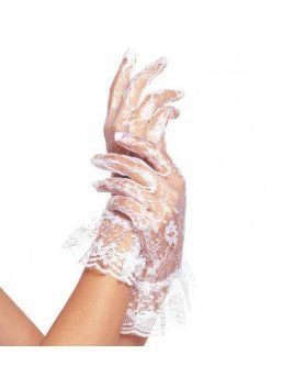 leg avenue guantes de encaje con volante blancos