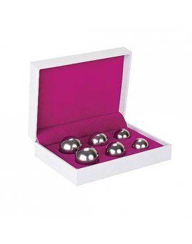 set 6 bolas chinas ben wa balls distinto peso plateado VIBRASHOP
