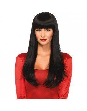 leg avenue peluca larga lisa negra