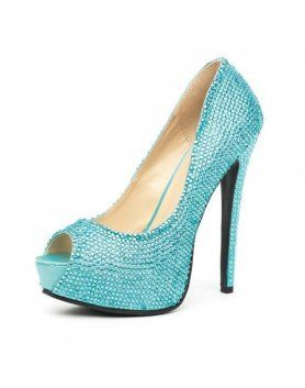 leg avenue glamour peep toe pump turquesa satinado con strass