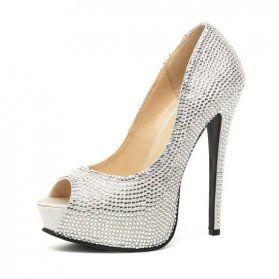 leg avenue glamour peep toe pump plata satinado con strass VIBRASHOP