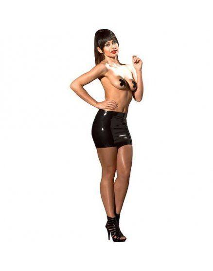 mini falda efecto mojado negro VIBRASHOP
