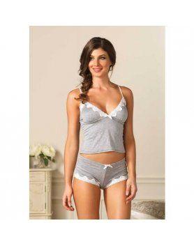 seraphina conjunto top y short gris con encaje blanco