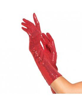 leg avenue guantes de lentejuelas de color rojo VIBRASHOP