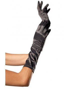 leg avenue guantes satinados de color negro VIBRASHOP