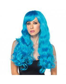 leg avenue peluca larga ondulada azul neon