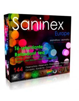 saninex preservativos te retardante aromatico estriado 144 uds