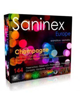 saninex preservativos champagne aromatico punteado 144 uds