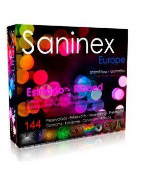 saninex preservativos estriado aromatico 144 uds