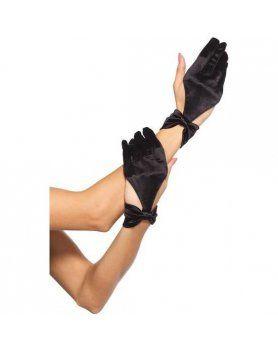 leg avenue guantes de saten con detalle lazo la muñeca negro