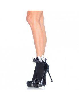 leg avenue calcetines con volante y lazo negro y blanco