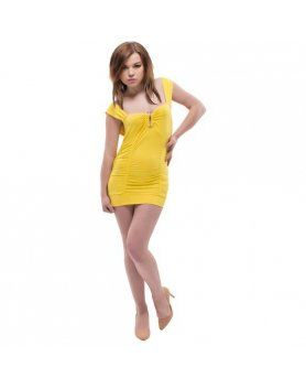 PURPURA CONCEPT MINI VESTIDO AMARILLO