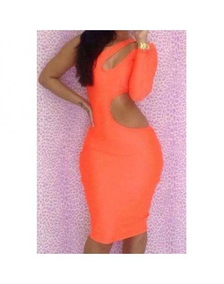 VESTIDO AJUSTADO CUT OUT NARANJA VIBRASHOP
