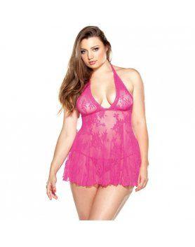 curve picardias de encaje con tanga rosa VIBRASHOP