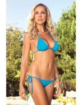 leg avenue bikini de triangulo con brasileña fruncido turquesa VIBRASHOP