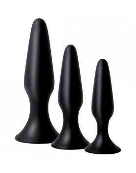 KIT DE BUTTPLUGS DE SILICONA NEGROS VIBRASHOP