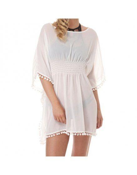 vestido palmarola blanco VIBRASHOP