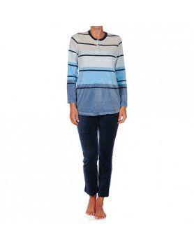 Pijama mujer cucuc rayas azul Vibrashop