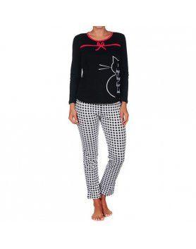 Pijama mujer cucuc gato negro Vibrashop