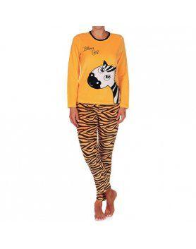 Pijama mujer cucuc zebra girl amarillo Vibrashop