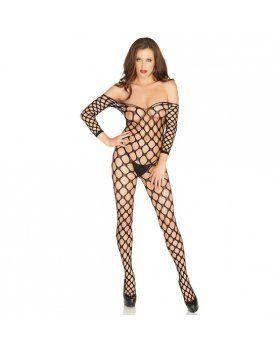 Body lingerie malla amplia negro Vibrashop