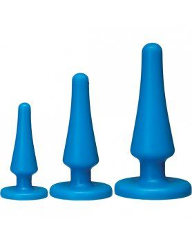 KIT DE BUTTPLUG ANALES 3 PIEZAS AZULES