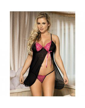 BABYDOLL GOLDIE NEGRO LIPS AND CHERRY   VIBRASHOP