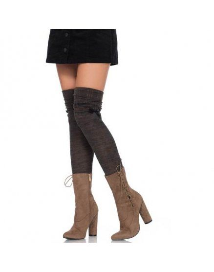 LEG AVENUE CALCETINES ALTOS CON LAZO SATeN VIBRASHOP