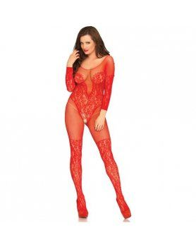 LEG AVENUE VINE LACE AND NET BODYSTOCKING ROJO VIBRASHOP