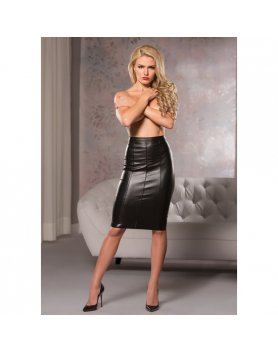 FAUX LEATHER KNEE LENGTH SKIRT VIBRASHOP