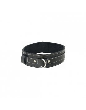 Collar bondage edge lined leather collar Vibrashop