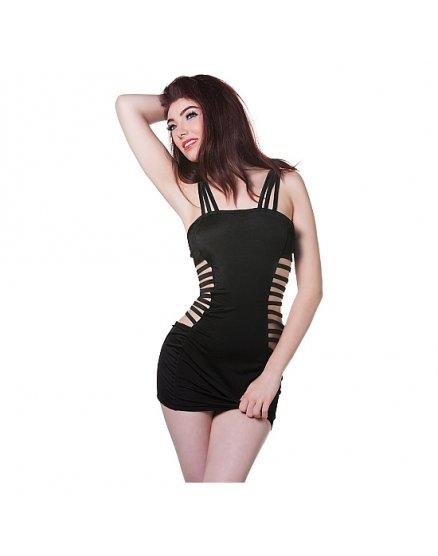 Vestido shots aberturas laterales negro Vibrashop