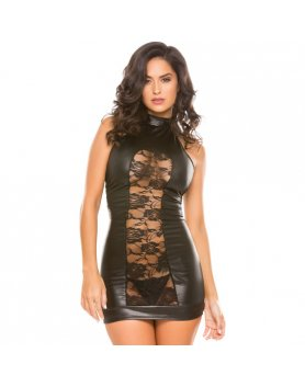 WETLOOK HALTER CUT DRESS VIBRASHOP