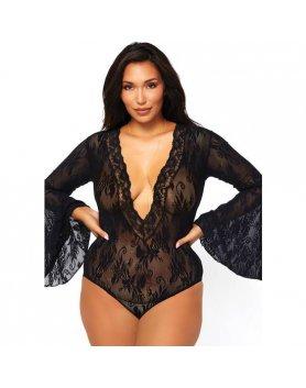 Body lingerie mangas campana negro Vibrashop