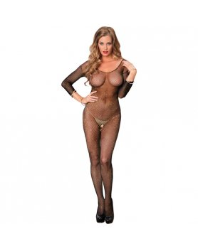 BODYSTOCKING DE LUREX NEGRO Y DORADO VIBRASHOP
